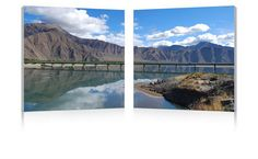 Wholesale Interiors FG-1081AB Causeway through the Mountains Mounted Photography Print Diptych - Each