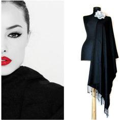 Classy Black Shawl, Elegant Scarf, Stylish Formal Wrap, Black Wedding... ($25) ❤ liked on Polyvore featuring accessories, scarves, wrap shawl, shawl scarves, formal shawl, evening wrap shawl and evening shawls