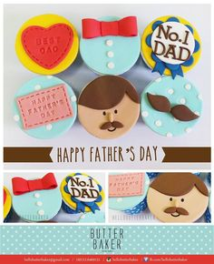 Father's Day cupcake set complete with bow tie, daddy, mustache on it❤️