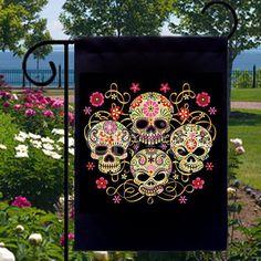 Day of the Dead Sugar Skulls Small Garden Flag by SabellasEmporium, $12.99