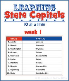 Learning State Capitals - 10 a week for 5 weeks, printable- could use as a review for Memory Master