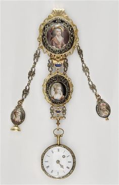 Watch accompanied by a chatelaine, late 18th century, Jean-Antoine Lepine (1720-1814) Watchmaker; Hologer to the King in 1774/75    **Notice the lovely miniatures, perhaps of the ladies it once belonged to.