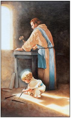 """Jesus came into the world to die.  The painting """"Destiny"""" by an anonymous artist shows the child Jesus in the carpenter's shop with Joseph.  He casts the shadow of a cross. ~ The Lamb who must die so that we might live."""