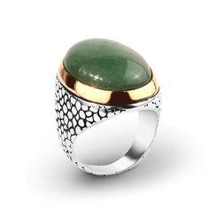 925K Sterling Silver Gemstone Man Ring With Natural Green Jade