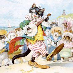 Kitty with a Banjo Fine Art Print