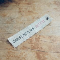 50 Linen Eyelet Labels Hand-Stamped with First Names & Date for Wedding Favors and Invitations