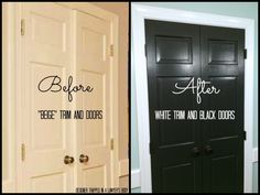 Today I am going to talk to you about what a difference painting trim and doors can make in your space. Specifically I am going to show you how AMAZING black doors and white trim Painted Interior Doors, Black Interior Doors, Painted Front Doors, Interior Trim, Interior Shop, Interior Paint, Interior Design, Craftsman Interior, Black Window Frames