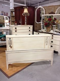 Painted Duncan Phyfe bed