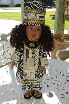 African Princess ensemble for 18 inch doll by sandidoll on Etsy, $40.00
