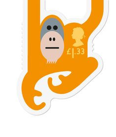 Orangutan jungle postage stamp by Royal Mail - so cute - endearing animals that hang onto every envelope Postage Stamp Design, Postage Stamps, Royal Mail Stamps, Creative Review, Mail Art, Stamp Collecting, Graphic Illustration, Royals, Typography
