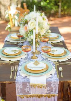 Gold, mint and peach color scheme.  Romantic Latin inspired wedding inspiration | 100 Layer Cake