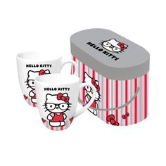 Paperproducts Design 601171 Gift Box Porcelain Mugs, 14-Ounce, Hello Kitty Nerd Kitty