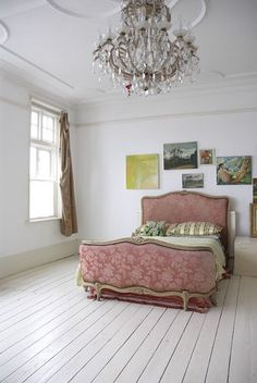 White painted floors for a shabby chic or beach styled room, works well with the chandelier for a touch of France. Decor, Furniture, Interior, Home, Painted Floors, Home Bedroom, Painted Wood Floors, House Interior, Interior Design