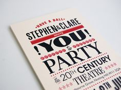 Have a ball! by Ello Mate! , via Behance Party Invitations, Charity, Behance, Letterpress Printing