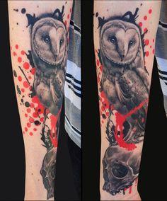 Jamie Lee Parker - Trash Polka Owl Tattoo - Tattoos and Fine Art