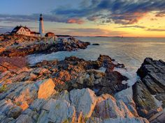 Portland Head, Maine lighthouse at sunrise