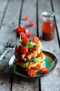 ... and Gouda BLT Corn Fritter Stacks with Chipotle Bourbon Dressing