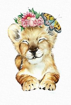 lion cub illustration - Real Time - Diet, Exercise, Fitness, Finance You for Healthy articles ideas Cute Animal Drawings, Cute Drawings, Watercolor Animals, Watercolor Paintings, Illustrations, Cute Baby Animals, Animal Paintings, Nursery Art, Cute Wallpapers