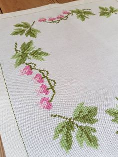 Lovely floral cross stitch embroidered tablecloth in offwhite linen from Sweden Cross Stitch Love, Cross Stitch Borders, Cross Stitch Flowers, Cross Stitch Charts, Cross Stitch Designs, Cross Stitch Embroidery, Hand Embroidery, Cross Stitch Patterns, Crochet Patterns