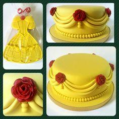 Cake y Galletas • Princesa Bella #PrityCakes #cakes #galletas #fondant #disney #BellayBestia