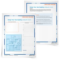 Design Your Own Dwelling Vocabulary Activity, Grades 2–12.  With the Design Your Own Dwelling Vocabulary Activity students will draw up their ideal place to live, from castle to tree house. Then they will use vocabulary words to label and describe aspects of their dwelling.