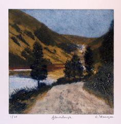 """Glendalough"" - A carborundum an drypoint print.  #print, #printmaking, #carborundum, #drypoint"