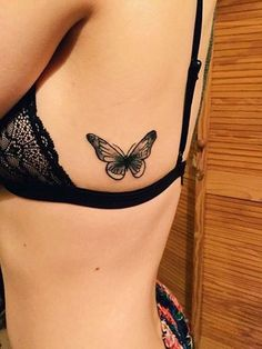Black Side Tattoo Butterfly with Roman Numerals