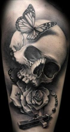 """Skull with Butterfly, Rose, Rosary Beads & Cross"" Tattoo"