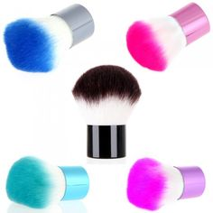 Professional Kabuki Blusher Brush Foundation Face Powder makeup make up brushes Set Cosmetic Brushes Kit Makeup Tools 5 colors(China (Mainla. It Cosmetics Brushes, Makeup Cosmetics, Cosmetic Brushes, Gel Powder Nails, Turquoise Makeup, Blusher Brush, Mini Makeup, How To Clean Makeup Brushes, Brush Kit