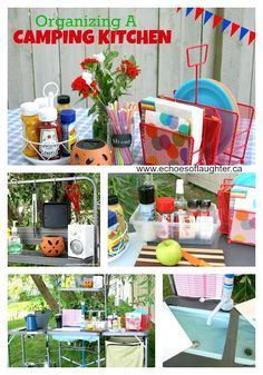 Create An Outdoor Camping Kitchen for camping season! Great ideas for organizing & storage.