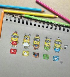 Minions [as YouTube, Snapchat, Instagram, WhatsApp & Twitter] (Drawing by TottaDraws @Instagram) #SocialMedia #DespicableMe