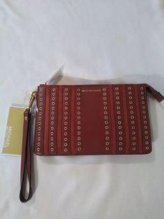 ac4c91460a11 Michael Kors Brooklyn Grommet Leather Wristlet Medium Clutch Bag Brick $148  NWT #MichaelKors #Wristlet