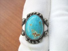 Vintage Southwestern Turquoise and Sterling Silver Ring size 5.25