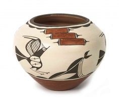 A Zia Polychrome Pottery Olla, Kathy Pino, Height 7 1/2