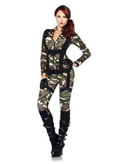 a99b2b467b09 Leg Avenue Pretty Paratrooper Zipper Front Camo Jumpsuit and Body Harness   2 Piece Pretty Paratrooper