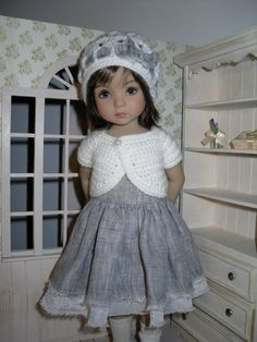 Set for Dianna Effner Little Darling 13 inches doll - blouse, skirt and hat.