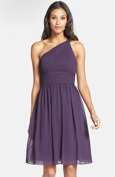 "Donna Morgan 'Rhea' One-Shoulder Chiffon Dress - ""Amethyst"" color   Nordstrom"