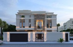 Traditional stone stucco and molded cornices combined with modern landscape features give this modern classic house design a charming but unique appearance. Classic House Exterior, Modern Exterior House Designs, Classic House Design, House Front Design, Dream House Exterior, Best Modern House Design, Modern Design, Modern Landscaping, Facade House