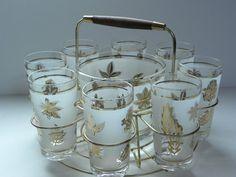 Vintage Drinking Glass Bar Caddy  8 Gold Leaf by RedRubyRetro