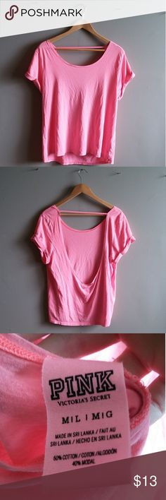 Open Back PINK Top Great condition VS PINK Size medium Hot pink Open back Light weight & flowy  **MOVING IN APRIL NEED EVERYTHING GONE, BUNDLE & SAVE**  **PLEASE BE AWARE that I live in a RURAL area far from town & only go in 1-3 times per week, usually Tuesday & Friday. I will always send a message to my buyers letting you know when I will mail your package. Please be patient! PINK Victoria's Secret Tops Tees - Short Sleeve