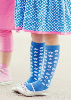 Mim Pi Blue Floral Knee High Socks