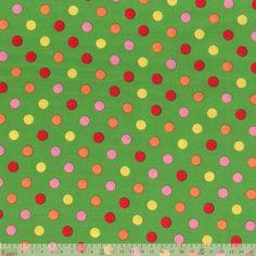 Lecien - Multi Spots On Green - cotton fabric