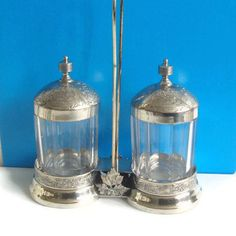 Pickle Castor, Double Castor, Condiment Set, Embossed Silver Plate, Octagon Glass Jars, Signed and Numbered, Victorian Table Decor by RamblinRanch on Etsy