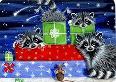 Original Raccoon Christmas Presents Snow Winter ACEO Print | eBay