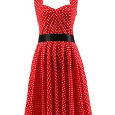 Marilyn dress. Red with small white dots This dress is a WOW . Red back ground with white dots. Zips up the back. Self tie belt in front. Sleeveless lined with solid red. Definitely worth the Marilyn Monrow Dress title. Awesome pick for Valentine's Day.❤️ black belt not included. Please ask questions. Very gently worn . Rabbit Dresses Midi