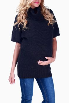 Charcoal Cowl Neck Maternity Sweater