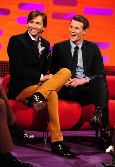 Two Doctors on Graham Norton for the 50th! And seriously David? Orange pants? Stop looking good in everything, it hurts.