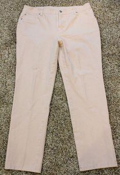 $20.00 Chico's Jeans Sz 2 5 14 Peach Nude Color Stretch Womens Hidden Waistband | eBay