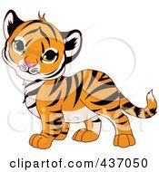 Royalty Free RF Clipart Illustration Of A Cute Baby Tiger Tilting His Head by Pushkin