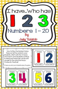The I have...who has...number game is a great way to teach or review numbers from 1 to 20. It can be used in small groups or with your whole class.  It makes learning numbers fun...especially for kindergarteners!
